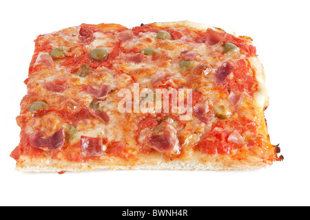 sliced pizza with mozzarella, tomatoes, olives and jam - Stock Photo