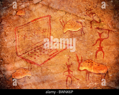 prehistoric pain with notebook animals and hunters - Stock Photo