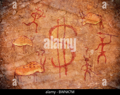 prehistoric paint with dollar symbol animals and hunters - Stock Photo