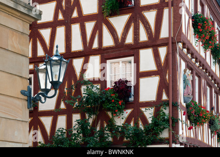 Half Timbered house and lamp in Mainz, Germany - Stock Photo
