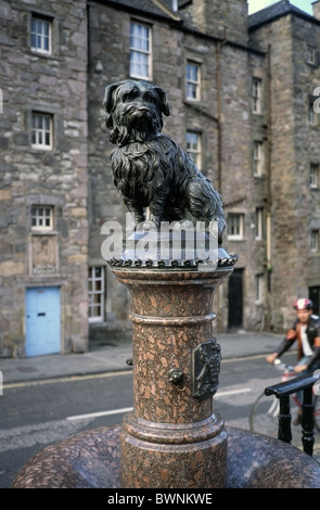 Greyfriars Bobby Statue located on the corner of Candlemakers Row and King George IV Bridge, Edinburgh, Scotland - Stock Photo