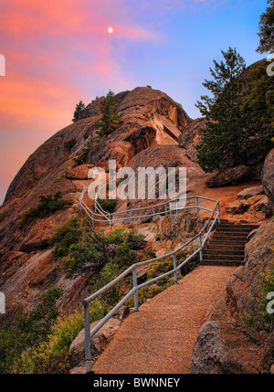 Sunset at Moro Rock in Sequoia and King Canyon National Park, California, USA - Stock Photo