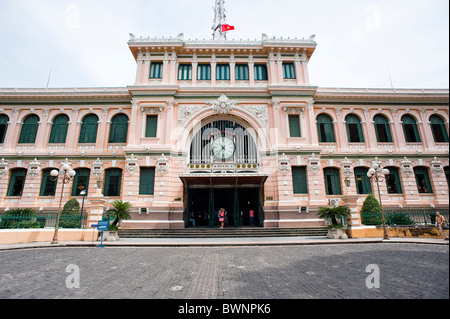 Exterior view of the General Post Office. Ho Chi Minh City Vietnam - Stock Photo