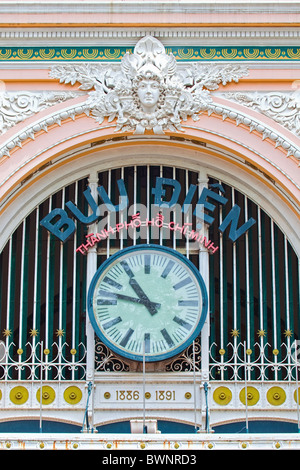 Detail of the General Post Office. Ho Chi Minh City Vietnam - Stock Photo
