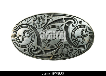 pewter celtic shield brooch isolated on white background - Stock Photo