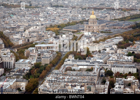 Les Invalides, seen from the top of the Montparnasse Tower,  Paris, France - Stock Photo