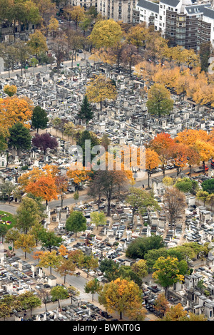 Montparnasse Cemetery in autumn, seen from the top of the Montparnasse Tower, Paris France - Stock Photo