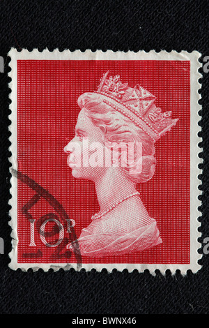 Queen Elizabeth II postage stamp UK Engraving UK Great Britain Europe England monarch monarchy reign royal - Stock Photo