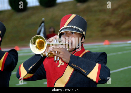 A member of the high school marching band - Stock Photo
