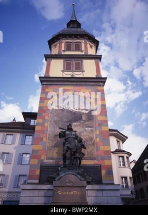 Switzerland Europe Canton Uri Altdorf Tell memory Wilhelm Tell William Tell National hero Statue Sculpture M - Stock Photo