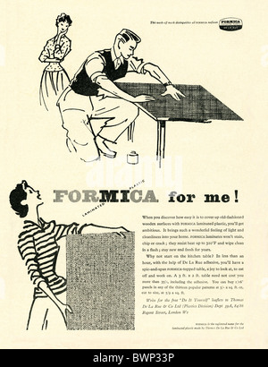 Advert for Formica, laminated plastic, a DIY product, in The Practical Householder magazine, 1956 - Stock Photo