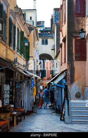 A backstreet in Corfu Town, Ionian Islands Greece. - Stock Photo