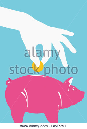 Person putting coin into piggy bank - Stock Photo