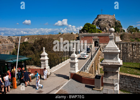 The Old Fortress in Corfu Town, Ionian Islands Greece. - Stock Photo