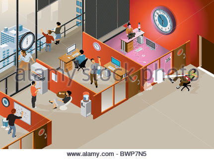 Business people wasting time at work - Stock Photo