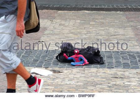 Plaza Mayor in Madrid street Spiderman - Stock Photo