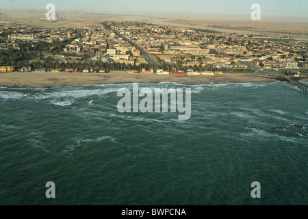 Namibia Africa Swakopmund Summer 2007 Africa aerial view landscape coast shore sea town city - Stock Photo