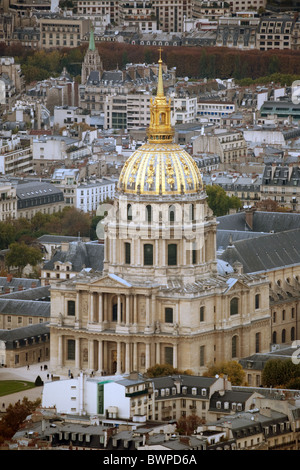 Eglise du Dome at the Hôtel des Invalides, seen from the top of the Montparnasse Tower,  Paris, France - Stock Photo