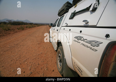 Namibia Africa Kunene Region Summer 2007 Africa 4x4 Off roader auto vehicle car dirt road landscape expedi - Stock Photo