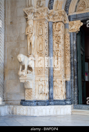 Trogir - portal of cathedral - Stock Photo