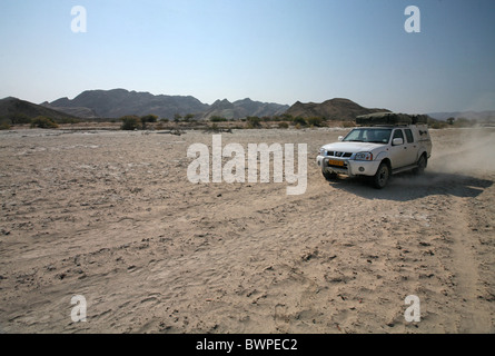 Namibia Africa Sesfontein river Hoanib Summer 2007 Africa dry sandy sand auto car vehicle adventure exped - Stock Photo