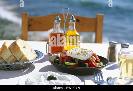 Greece Europe Greek salad Cyclades Europe island Crete travel tourism Corfu island Zakynthos Rhodos Santor - Stock Photo