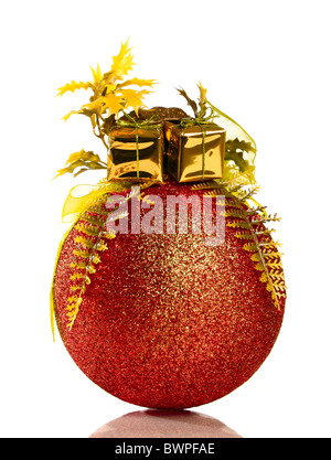 Red and gold Christmas ornament isolated on white background - Stock Photo