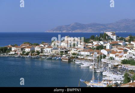 Greece Europe Pythagorion Samos island Mediterranean sea Boat boats Europe harbor harbor house houses isla - Stock Photo