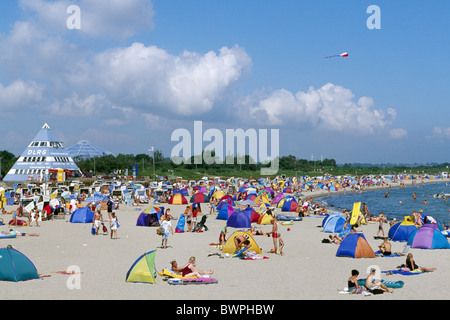 Germany Europe Baltic sea Damp Schleswig-Holstein Europe travel beach tourists tourism people tanning sunb - Stock Photo
