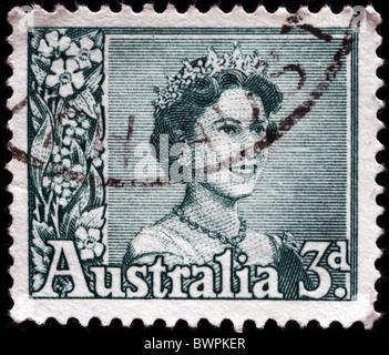 AUSTRALIA - CIRCA 1950s: A stamp printed in Australia shows Queen Elizabeth II, circa 1950s - Stock Photo
