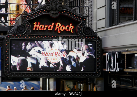 New York City USA America United States North America Hard Rock Cafe entrance November sign illuminated adver - Stock Photo