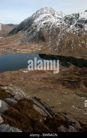 Tryfan and  Llyn Idwal in spring, Snowdonia . - Stock Photo