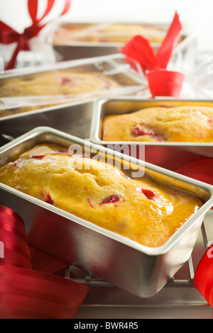 Glazed Lemon-Cranberry Mini Tea Breads. Presented in their cooking mold on a cooling rack. - Stock Photo