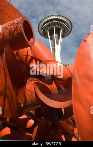 USA America United States North America Seattle city Washington State Pacific Science Center Space Needle Octo - Stock Photo