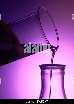 Glass Beaker In Lab Pouring Liquid Chemicals Into Beakers - Stock Photo
