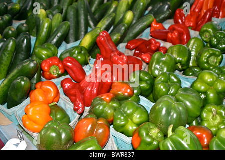 c fresh, green, ingredients, local, localvore, market, organic, peppers, s on display at roadside stand on Interstate - Stock Photo