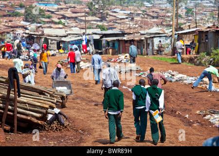 Kibera slums, Nairobi, Kenya - Stock Photo