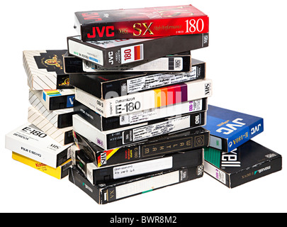 Pile of used VHS video tapes now defunct UK - Stock Photo
