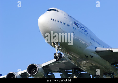 Boeing 747 Thai Airways Jumbo Jet Plane Landing - Stock Photo