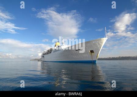 MS Royal Star Cruise ship Indian Ocean Nosy Be island Madagascar cruiser cruise liner water sea travel trave - Stock Photo