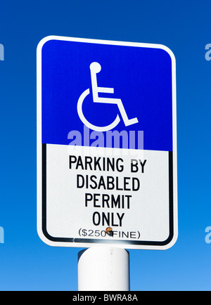 Parking by Disabled Permit Only sign, Florida, USA - Stock Photo