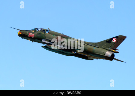 Sukhoi Su-22UM-3K jet fighter operated by the Polish Air Force departing from RAF Fairford - Stock Photo