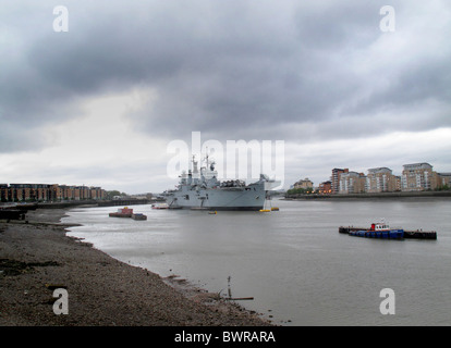 HMS Illustrious moored in River Thames - Stock Photo