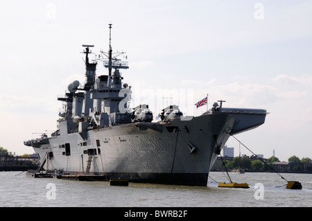 HMS Illustrious moored on The River Thames at Greenwich, London, England - Stock Photo