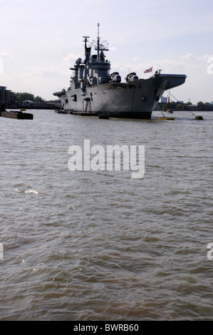 HMS Illustrious, Aircraft Carrier, Greenwich, River Thames, London, England - Stock Photo