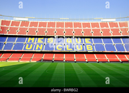 Seating and pitch inside Barcelona Nou Camp Football Stadium - Stock Photo