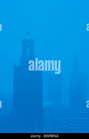 Sweden Europe Stockholm Stockholm City Hall In Morning Fog Architecture Building Buildings City City Hall Cit - Stock Photo