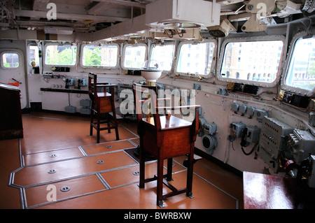Control deck, HMS Belfast, River Thames, London, England - Stock Photo