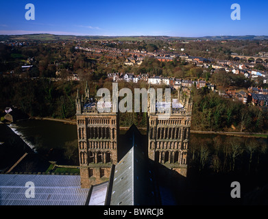 A view of Durham Cathedral and the River Wear seen from the Central Tower, Durham City, England - Stock Photo