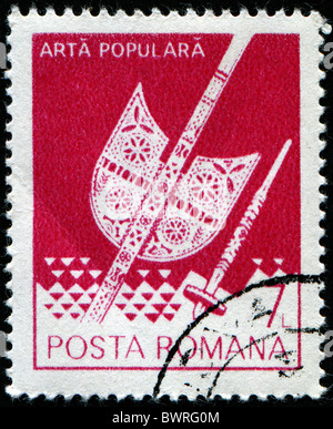 ROMANIA - CIRCA 1978: A stamp printed in Romania shows image celebrating folk art, series, circa 1978 - Stock Photo